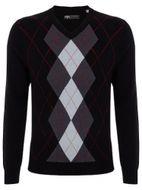 Callaway ARGYLE SWEATER V-NECK black pánsky sveter