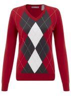 Callaway ARGYLE SWEATER V-NECK tango red dámsky sveter