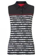 Callaway LACE STRIPE SLEEVELESS POLO ladies caviar dámske tričko